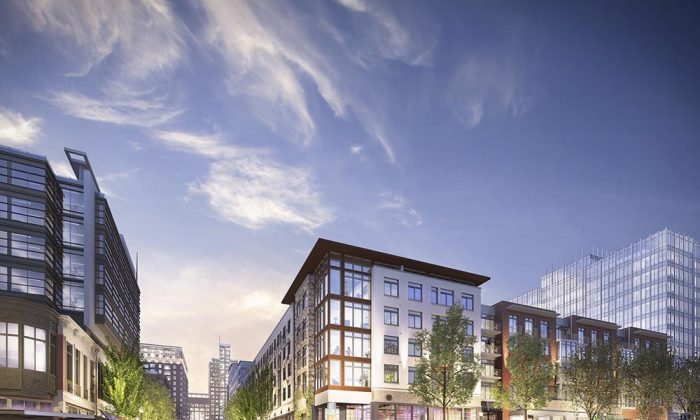 The Pike & Rose development near the White Flint Metro Station. Rendering view from Old Georgetown Road. (PikeandRose.com)