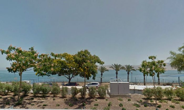 A Google Maps screenshot shows the street view next to the Sea of Galilee in Israel.