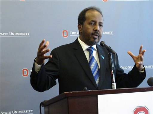 Somali President Hassan Sheikh Mohamud discusses security and political issues in Somalia, during a question and answer session after a speech on Monday, Sept. 23, 2013, in Columbus, Ohio. (AP Photo/Andrew Welsh-Huggins)