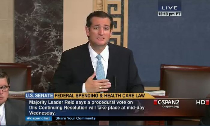 Ted Cruz talked and tweeted during his filibuster. (Screenshot of CSPAN)
