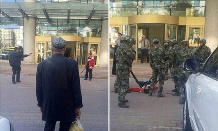 Photos posted online and verified by police show an officer aiming his gun at the armed vendor (left), and the vendor on the ground after being shot (right). (Screenshot/Weixin/Epoch Times)