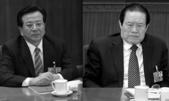 (L) Zeng Qinghong on March 9, 2006 in Beijing, China. (R) Zhou Yongkang, a member of the Standing Committee of the Political Bureau of CPC attends the opening session of the National People's Congress (NPC) at the Great Hall of the People in Beijing on March 5, 2012. (Liu Jin & Andrew Wong/AFP/Getty Images)