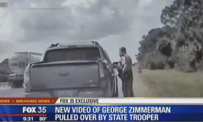 A screenshot of Fox News shows the video, showing George Zimmerman getting pulled over by a Florida police officer.