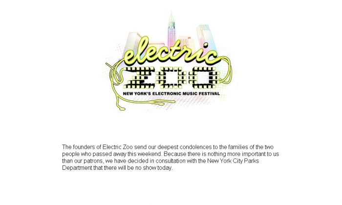The founders of the Electric Zoo music festival said on September 1 that the last day of the festival was cancelled because two people died and at least four others were seriously injured. (Screenshot/Made Event)