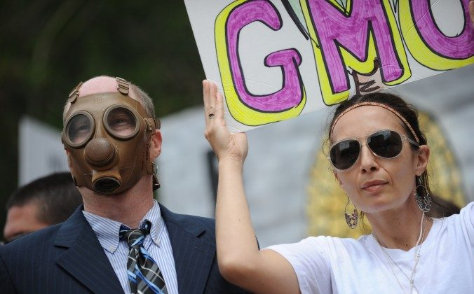 Protesters demonstrate against Monsanto in Los Angeles on May 25. A European coalition of scientists is challenging claims that the debate around genetically modified foods is settled and that GM foods are safe. (Robyn Beck/AFP/Getty Images)