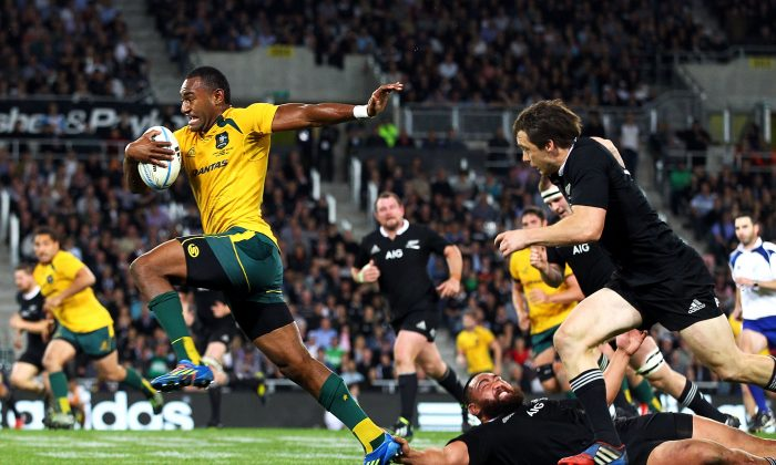 Running-rugby is back in style for the Wallabies ... centre Tevita Kuridrani makes a break against the All Blacks in the final Bledisloe Cup match of the season on Saturday Oct 19, 2013 in Dunedin, New Zealand. (Anthony Au-Yeung/Getty Images)