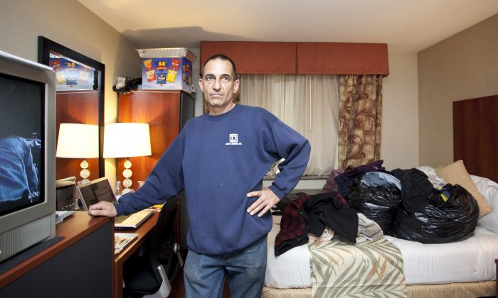 Richard Fabio, a Hurricane Sandy evacuee, in the Ramada Inn on Staten Island, New York, May 7, 2013. He has been living in a hotel since Dec. 22, 2012. (Samira Bouaou/Epoch Times)