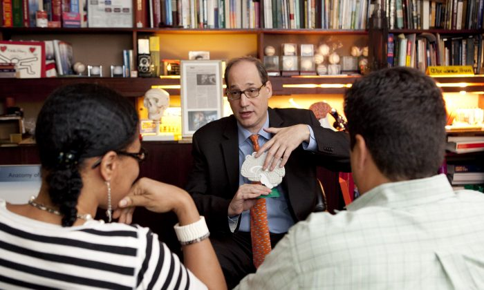 Dr. Alan Manevitz explains treatments for depression in his and Dr. James Halper's office in Manhattan. (Samira Bouaou/Epoch Times)