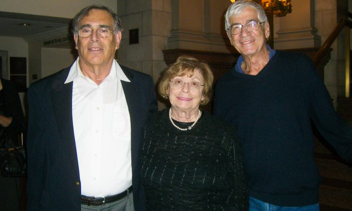 (L-R) Martin Hecht, Margo Hecht, and Jules Levine smile after a performance by Shen Yun Symphony Orchestra at Carnegie Hall in New York City on Oct. 5, 2013. (Tracey Zhu/Epoch Times)