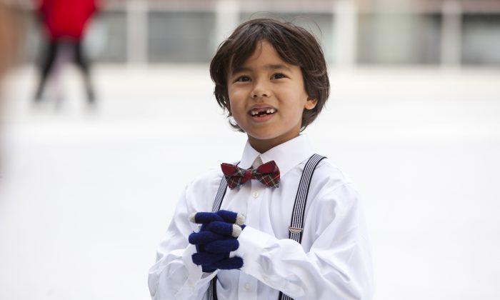 Louis Lorenz on the ice rink at Rockefeller Center, Manhattan, New York, Oct. 14, 2013. (Samira Bouaou/Epoch Times)