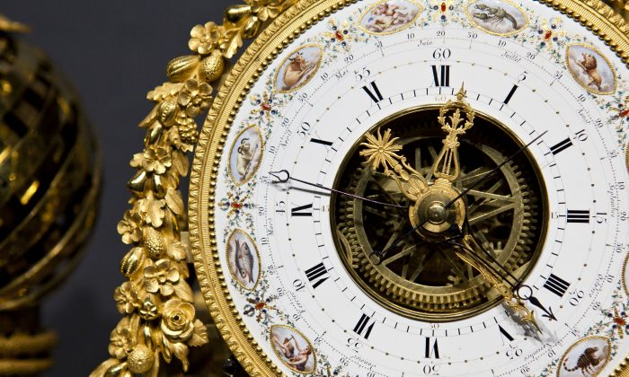 A detail from a clock worth at least $2 million from the display by Richard Redding Antiques LTD. (Samira Bouaou/Epoch Times)