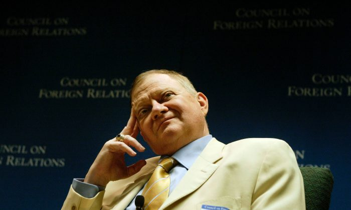 Tom Clancy listens to questions during a discussion June 1, 2004 in Washington, DC. (Brendan Smialowski/Getty Images)