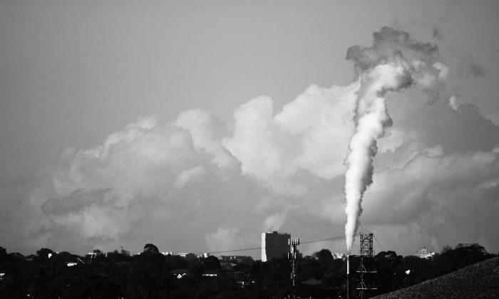 A smoke stack emits fumes June 2, 2007 in Sydney. Australia's shared commitment to limit the global temperature rise to 2 degrees by reducing its own emissions by 5 per cent by 2020 is inadequate, according to the CCA. (Ian Waldie/Getty Images)