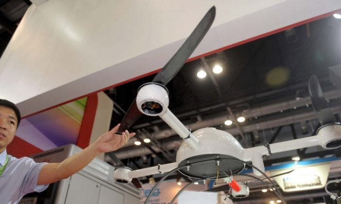 In this photo, taken on May 22, 2012, a surveillance drone is displayed in Beijing. The drones that China plans to deploy for coastal surveillance are small, propeller aircraft that can take off from ships. (STR/AFP/Getty Images)