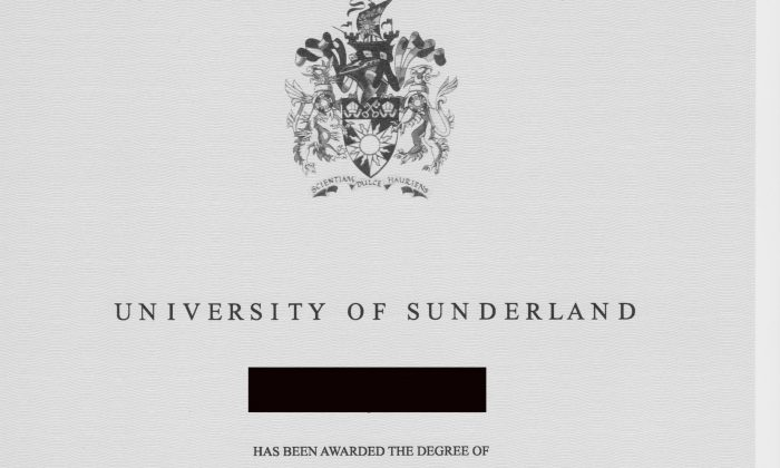 A degree purported to have been granted by the University of Sunderland. The university said in an email that they have no record of the attendance of the student named on the document. (Provided by source)