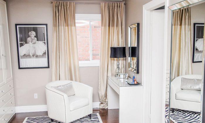 Turn a small unused bedroom—or a walk-in closet—into a stylish dressing room. (Courtesy of Nella Casa Bella)