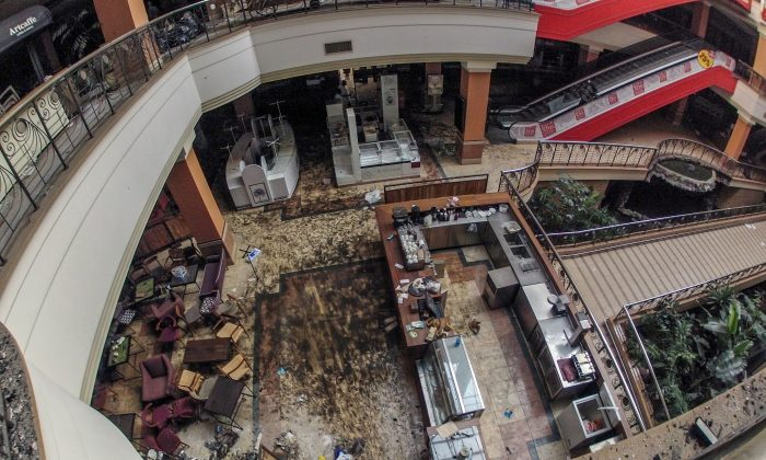 """Inside the Westgate Mall in Nairobi, Kenya, after the deadly assault by Islamist gunmen that killed 72. The U.S. Embassy in Kampala, Uganda has received reports that a """"Westgate-style attack"""" is going to happen in the Ugandan capital, prompting a review of security procedures. (James Quest/AFP/Getty Images)"""