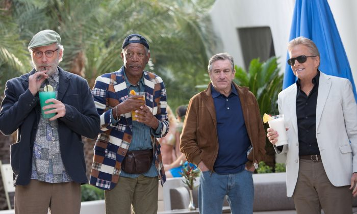 (L-R) Kevin Kline, Morgan Freeman, Robert De Niro, and Michael Douglas play a set of childhood friends meeting for their last bachelor party in Last Vegas. (CBS Films)