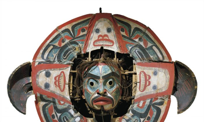 A Heiltsuk Transformation Mask. By pulling various strings, the mask can be transformed from its outer image of an eagle to the inner one of a supernatural being in human form. (Photo courtesy CMC/MCC)