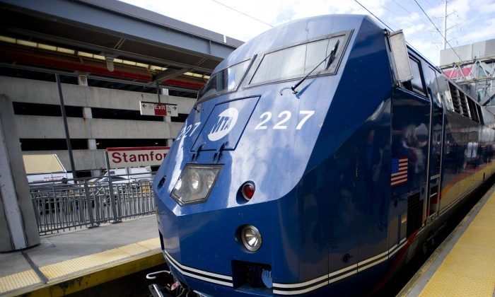 A diesel-powered Metro-North train bound for Grand Central Terminal pulls into the train station in Stamford, Conn., Sept. 26, 2013. (AP Photo/The Connecticut Post, Lindsay Perry)
