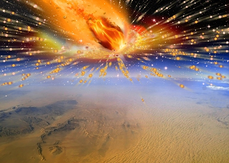 Researchers have found two different pieces of comet strike evidence that backs up the theory that a comet exploded above Egypt about 28 million years ago. An artist's rendition depicts the explosion. (Terry Bakker)