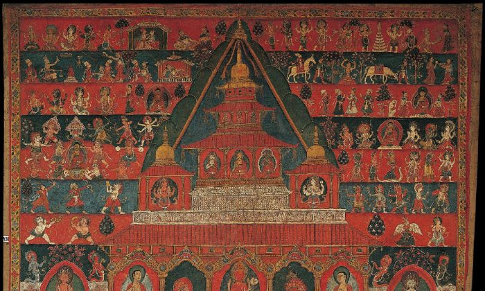 Avalokiteshvara - Rakta Lokeshvara (Red Lord of the World, Nepal, 1800 - 1899; Ground Mineral Pigment on Cotton (Collection of Rubin Museum of Art)