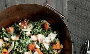 Recipe: Kale Salad & Squashes, Almonds, and Grana