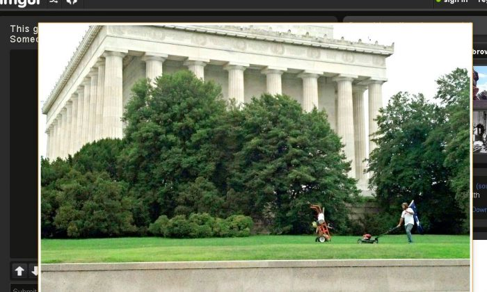 Chris Cox mowing the lawn at the Lincoln Memorial. (Screenshot/Imgur)