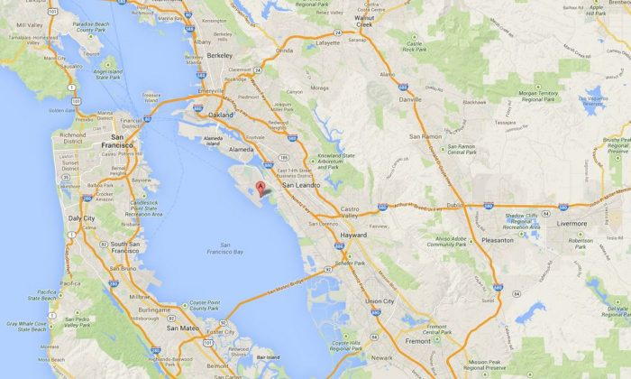A screenshot of Google Maps shows the location of the Oakland Airport.