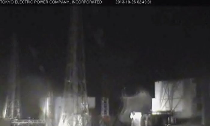 A screenshot of TEPCO's live camera at around 2:50 a.m. shows the Fukushima power plant.