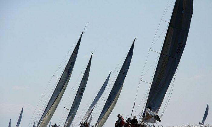 The race is on during the first Cretan Union Cup regatta, Oct. 14-20, 2013 in Crete, Greece, (Courtesy of Cretan Union Cup)
