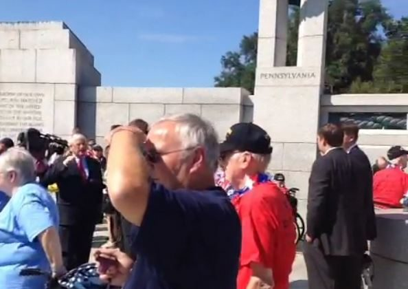 World War II veterans and others inside the World War II Memorial in Washington, D.C. on Tuesday. (Screenshot/Vine)
