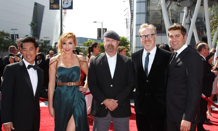 (L-R) Grant Imahara, Kari Byron, Jamie Hyneman, Adam Savage and Tory Belleci attend the 2011 Primetime Creative Arts Emmy Awards at Nokia Theatre on September 10, 2011 in Los Angeles, California. (Photo by Noel Vasquez/Getty Images)