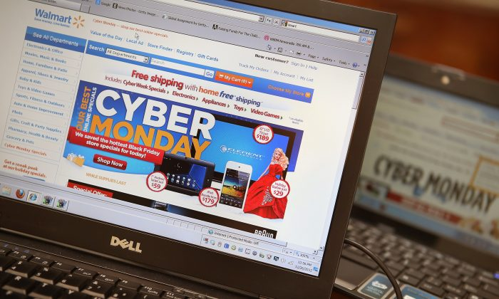 Retailers advertise Cyber Monday deals on their websites in Chicago, Ill., Nov. 2012.  (Scott Olson/Getty Images)