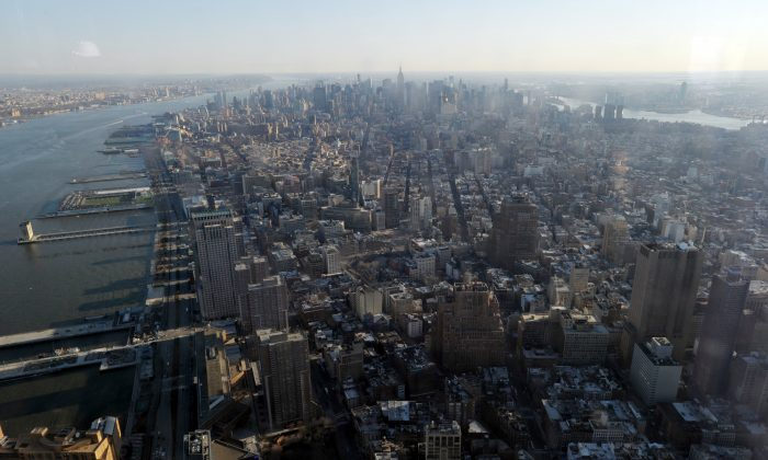 The view of Manhattan from the public observation deck on the 100th floor of One World Trade Center April 2. (STAN HONDA/AFP/Getty Images)