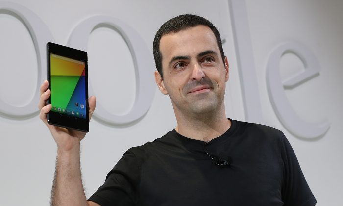 Hugo Barra, Vice President, Android Product Management at Google, holds up a new Asus Nexus 7 tablet at Dogpatch Studios in San Francisco on July 24, 2013. (Justin Sullivan/Getty Images)