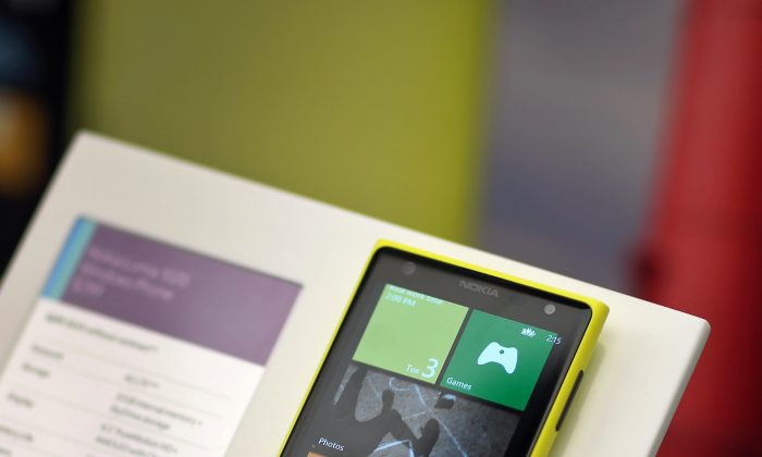 A Nokia phone on display at a Microsoft store in Miami, Sept. 3. (Joe Raedle/Getty Images)