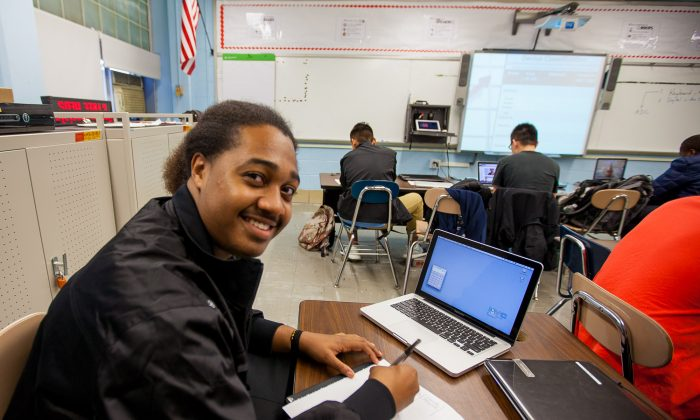 Andre Moona, 10th grade student at the Gateway School for Technology, Manhattan, New York, Nov. 7, 2013. (Petr Svab/Epoch Times)