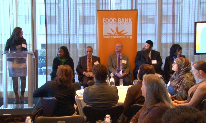 (L–R) Crystal Gilliam, senior manager of Government Relations at Food Bank For New York City; Margarette Purvis, president and CEO of Food Bank for New York City; Swami Durga Das, executive director of the River Fund; Stewart Desmond, executive director of West Side Campaign Against Hunger; Alexander Rapaport, executive director of Masbia Soup Kitchen Network; the Rev. Dr. Melony Samuels, executive director of Bed Stuy Campaign Against Hunger, Lower Eastside, New York, Nov. 25, 2013. (Allen Xie)