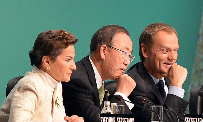 (L-R) Christiana Figueres, executive secretary of the United Nations Framework Convention on Climate Change, United Nations Secretary General Ban Ki-moon and Polish Prime Minister Donald Tusk at the United Nations Climate Change Conference, in Warsaw, Poland, Nov. 19. (JANEK SKARZYNSKI/AFP/Getty Images)