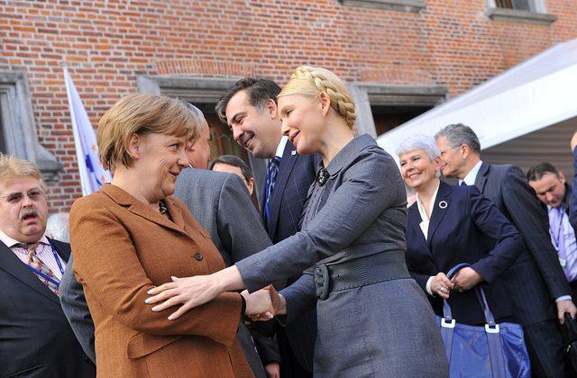 Germany's Angela Merkel and former Prime Minister Yulia Tymoshenko in June 2011 (European People's Party)