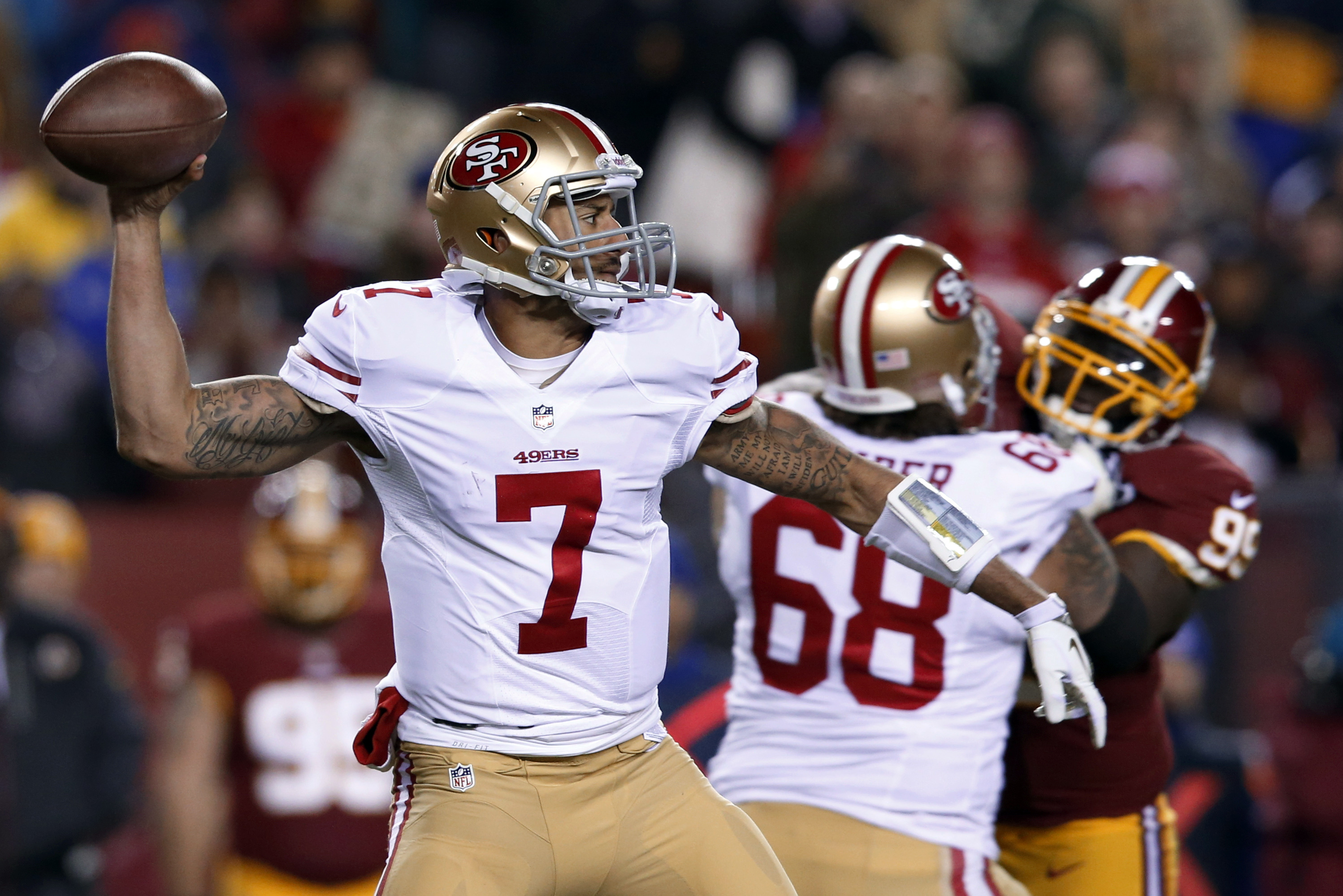detailed look 1fc83 3bcec Report: Colin Kaepernick Can't Tamper With Flag on Helmet ...