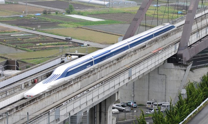 The Maglev (magnetic levitation) train speeds through during a test run on the experimental track in Tsuru, west of Tokyo, on May 11, 2010. (Toru Yamanaka/AFP/Getty Images)