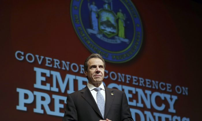 New York Gov. Andrew Cuomo at an emergency preparedness conference in Albany, N.Y. on Oct. 28, 2013. (AP Photo/Mike Groll)
