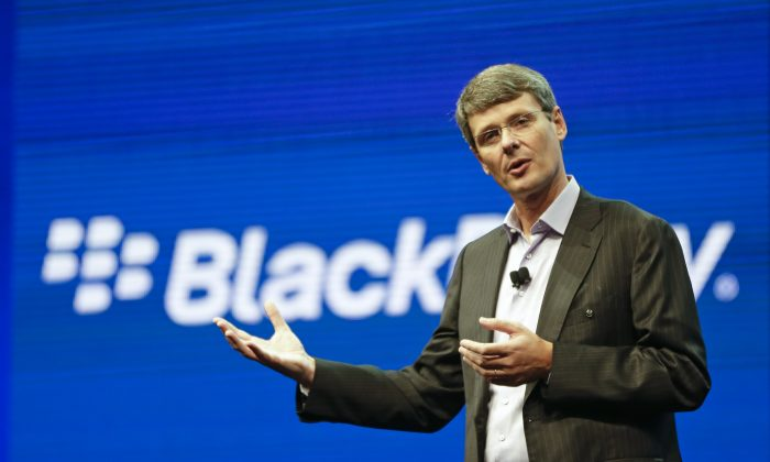 Thorsten Heins, president and CEO at BlackBerry, speaks at a conference in Orlando, Fla. May 14, 2013. BlackBerry abandoned its sale process on Monday, Nov. 4, 2013. (AP Photo/John Raoux, File)