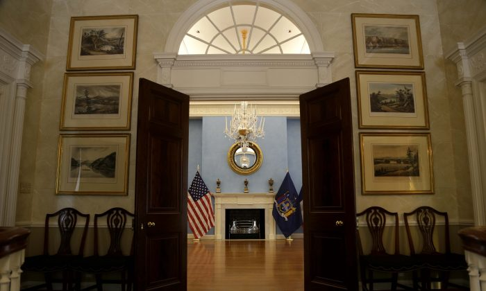 An entrance to the ballroom at Gracie Mansion in New York on Oct. 7, 2013. (Seth Wenig/AP)