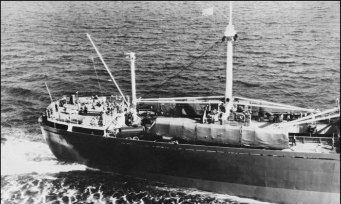 Soviet freighter Anosov carrying missiles in accordance with the U.S.–Soviet agreement on the withdrawal of the Russian missiles from Cuba, on Nov. 9, 1962. (AFP/Getty Images)