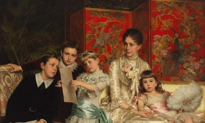 """Cornelia Ward Hall and Her Children,"" 1880, by Michele Gordigiani. Oil on canvas. (Museum of the City of New York)"