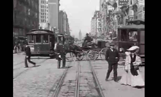 Screenshot of rare footage of everyday life on San Francisco's Market St. in 1906. (Prelinger Archives/San Francisco Film Museum)