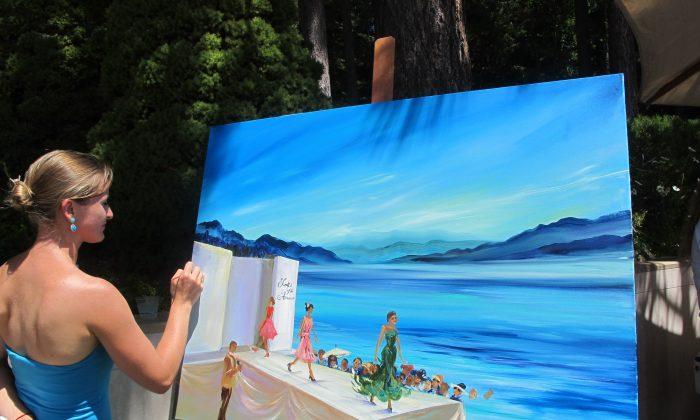 Artist Nataliya Tyaglo puts on the final touches. (Lina Broydo)